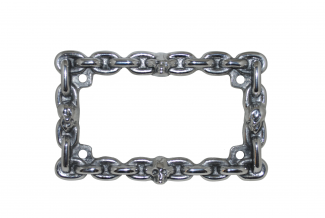 skull and chain license plate frame