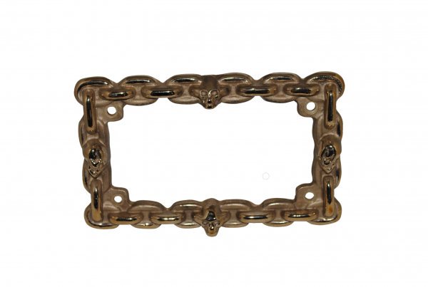 skull brass license plate frame